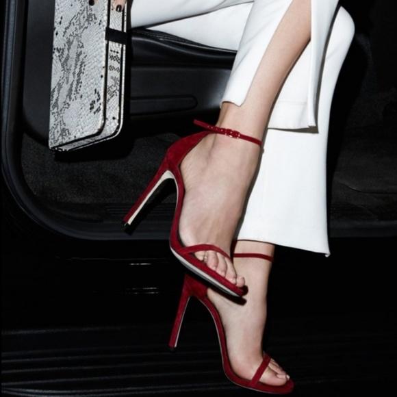 Stuart Weitzman Shoes - Stuart Weitzman Nudist Red Suede Heels Size 9.5